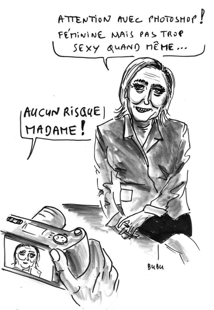 Affiche de Marine Le Pen pour le 2ème tour ...  Comment effacer l'image et le nom du père encombrant !