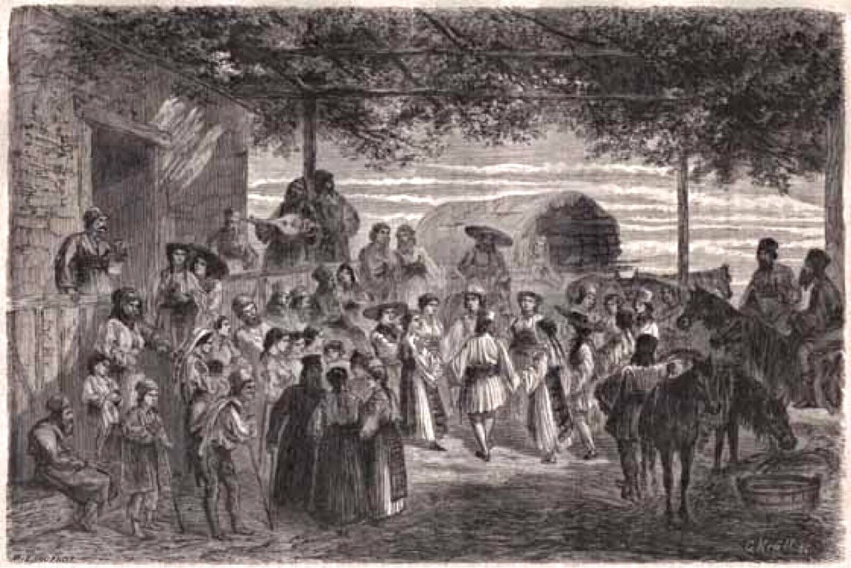 c h e z G r a z z i e l a ,danse roumaines a Paris ...,Hora 1860 héliogravure dessin d'après un A. G. Krull Lancelot