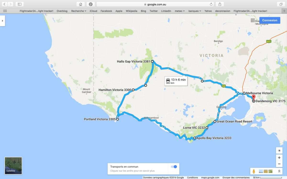 Septembre, c'est le printemps ici : 12 à 17 degrés seulement. L'Australie : Kangourou, Emeu, Koala. Great Ocean Road.