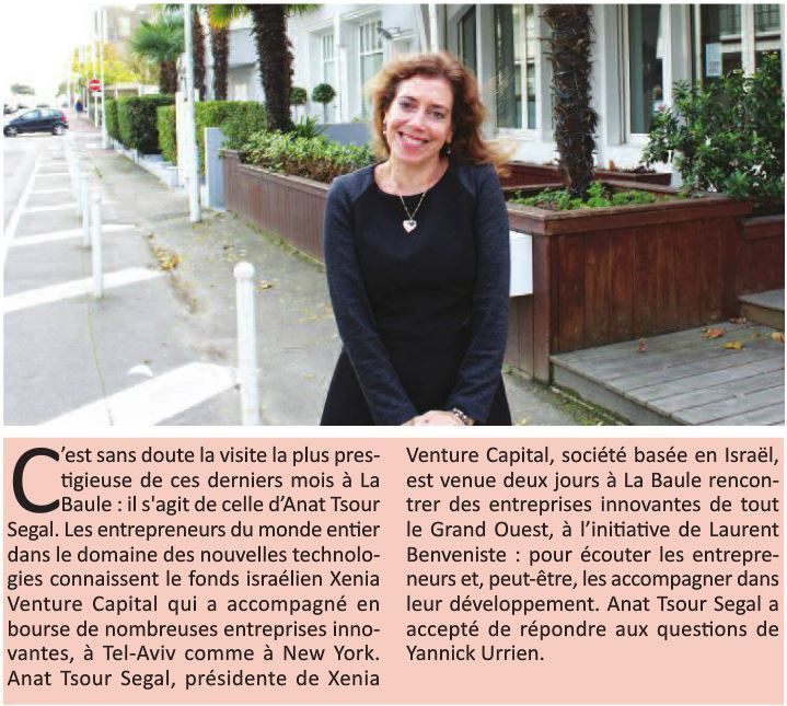 Anat Tsour Segal, fondatrice de Xenia Venture Capital interviewé par La Baule+