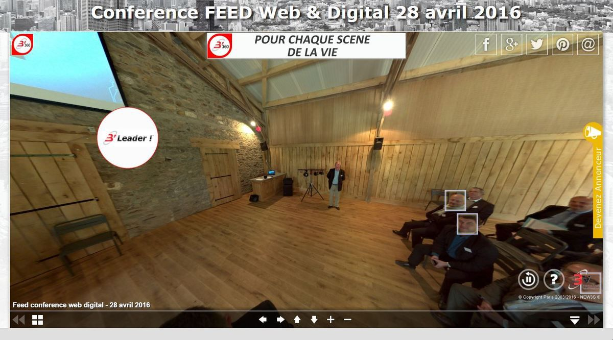 En 1 seule image interactive vous pouvez à l'aide de votre souris, de vos doigts, et flèches du clavier vous promener à 360° par 360° à la recherche de l'information sur chacun des conférenciers.