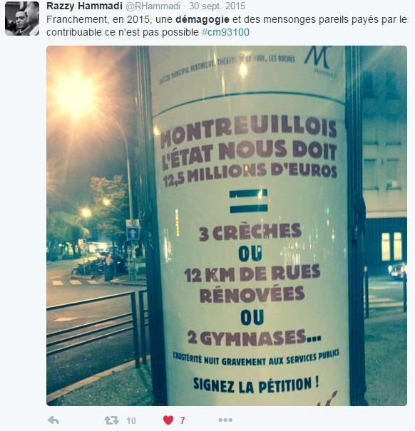 Montreuil Bagnolet : répartition de la réserve parlementaire 2015 de Razzy hammadi