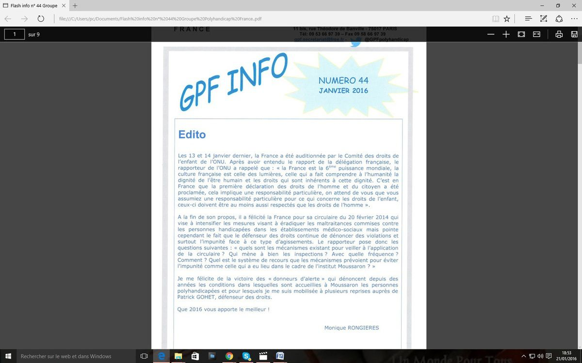 Flash info n° 44 – janvier 2016  du Groupe Polyhandicap France.