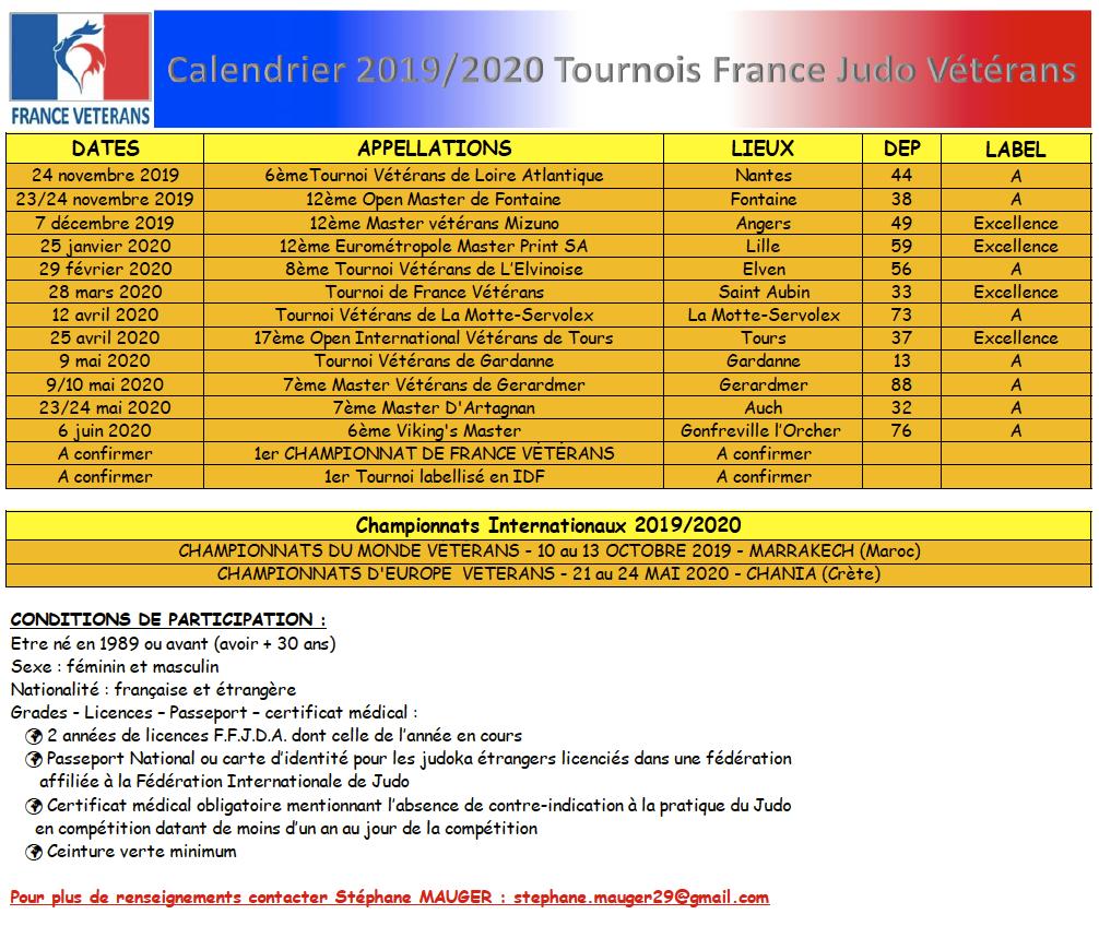 Vikings Calendrier.Calendrier Des Tournois Veterans 2019 2020 Clubs De Judo