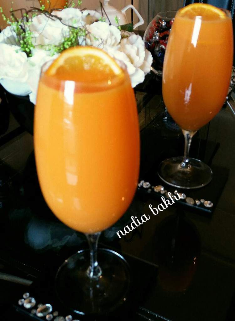 jus de carotte,orange et yaourt
