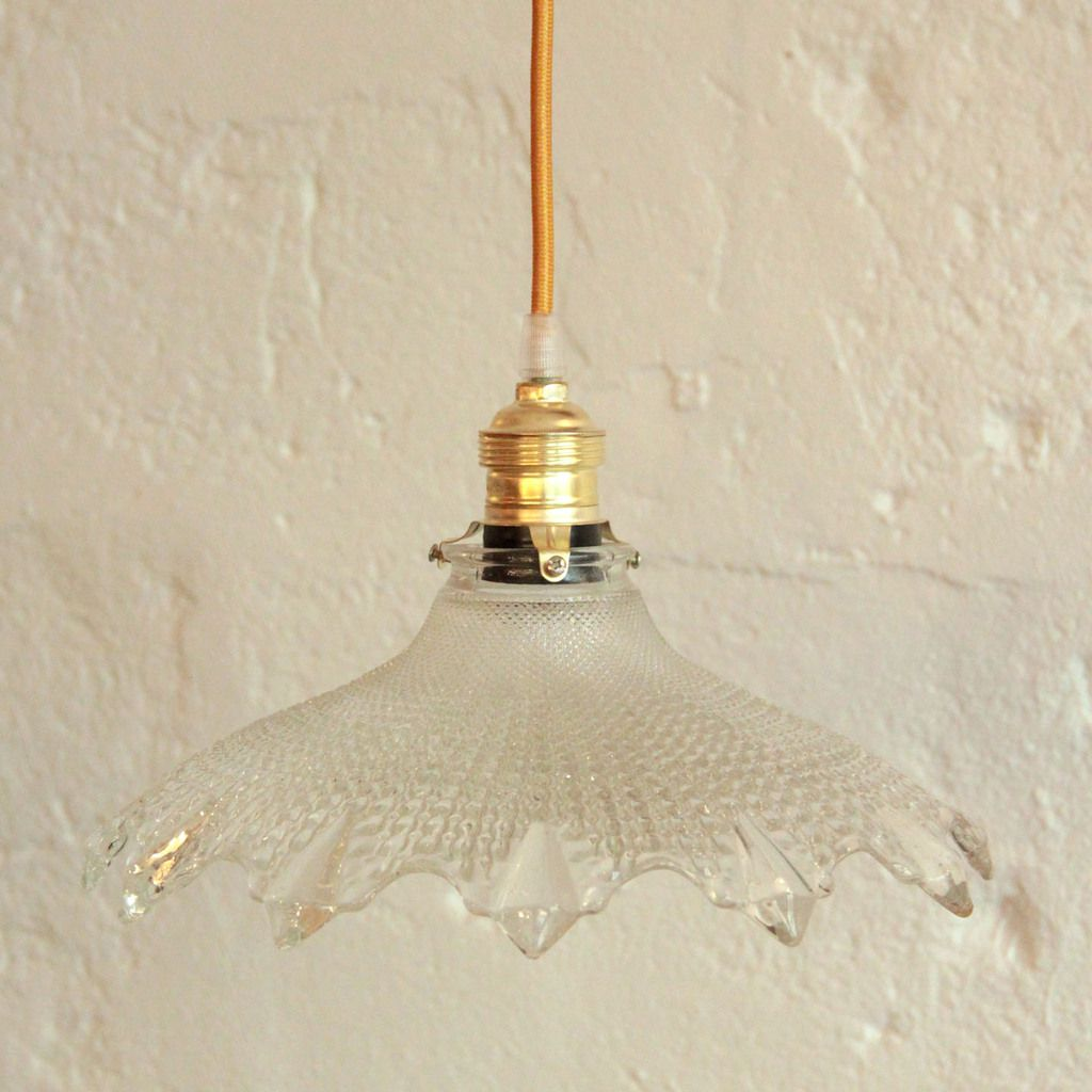 Lustre suspension ancien abat jour en verre transparent vendu ibidum 13 - Ancien lustre suspension ...