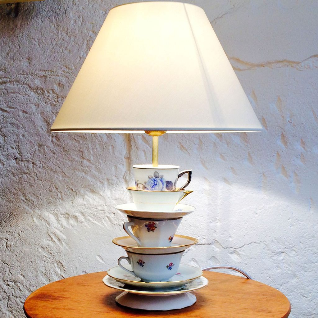 petite lampe tea cup shabby chic tea lamp vendue. Black Bedroom Furniture Sets. Home Design Ideas