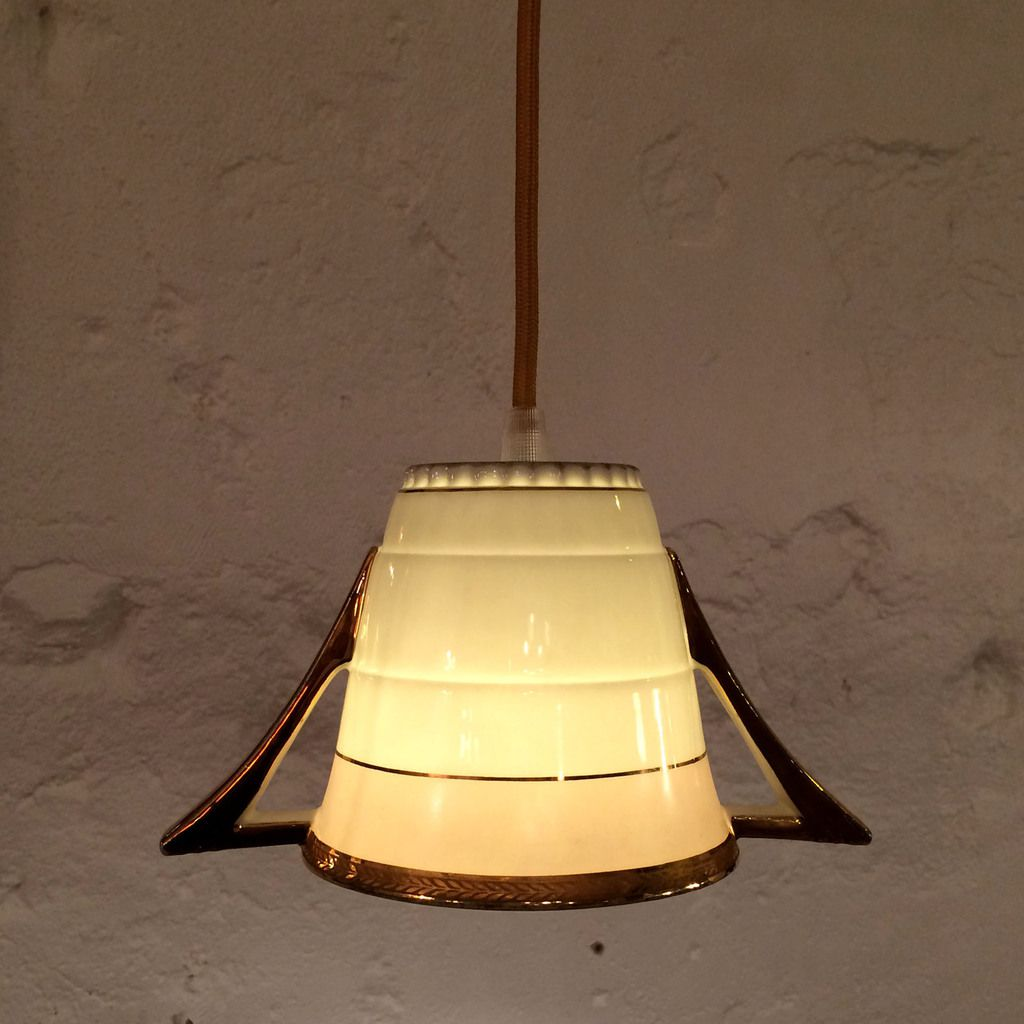 Suspension tea lampe, shabby chic, ancien sucrier en porcelaine
