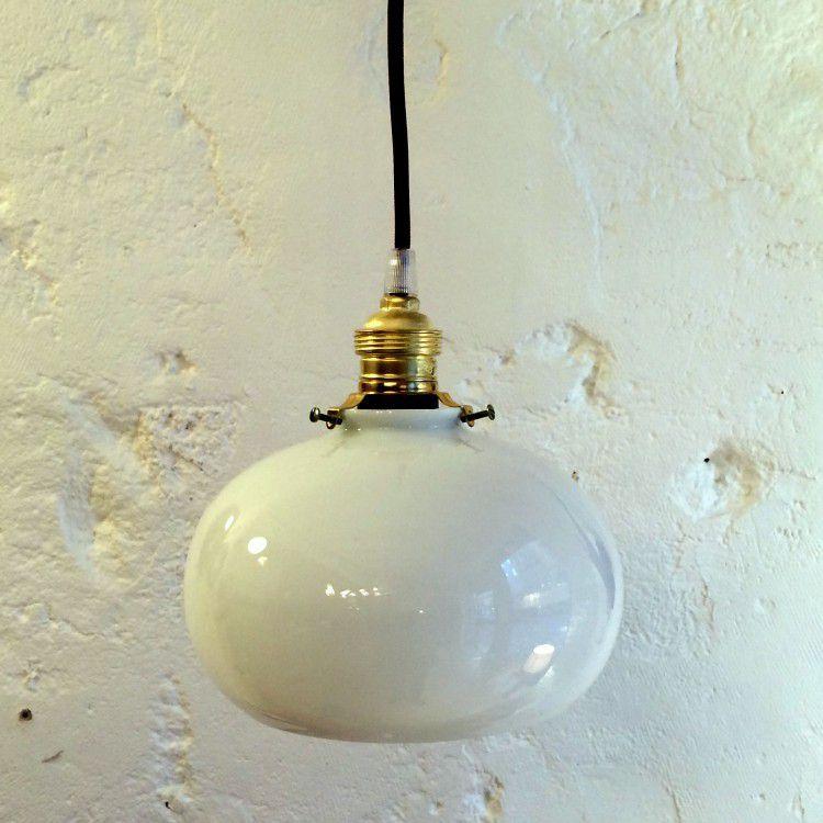 Lampe suspension luminaire abat jour opaline blanche (vendue)