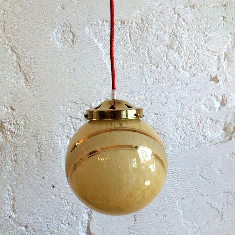 Lampe suspension luminaire abat jour globe moucheté or et fil or