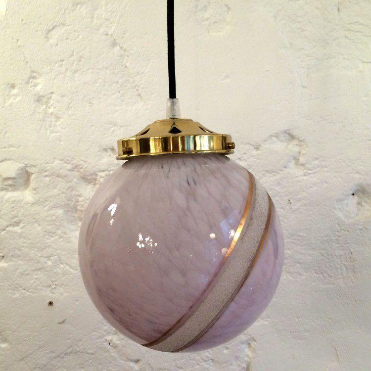 Lampe suspension luminaire abat jour globe moucheté violine et fil or
