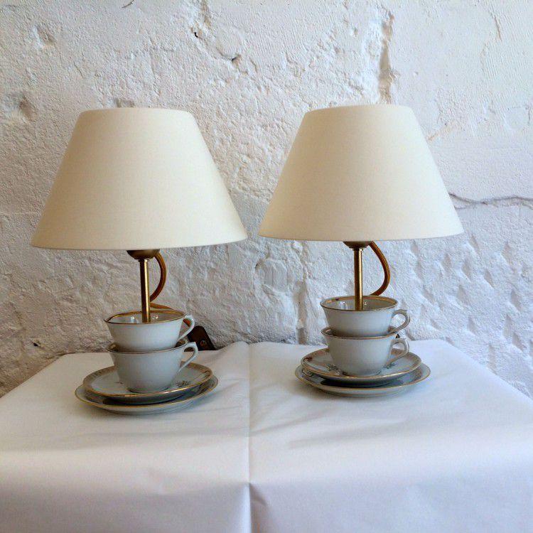 Petite lampe en tasses en porcelaine ancienne