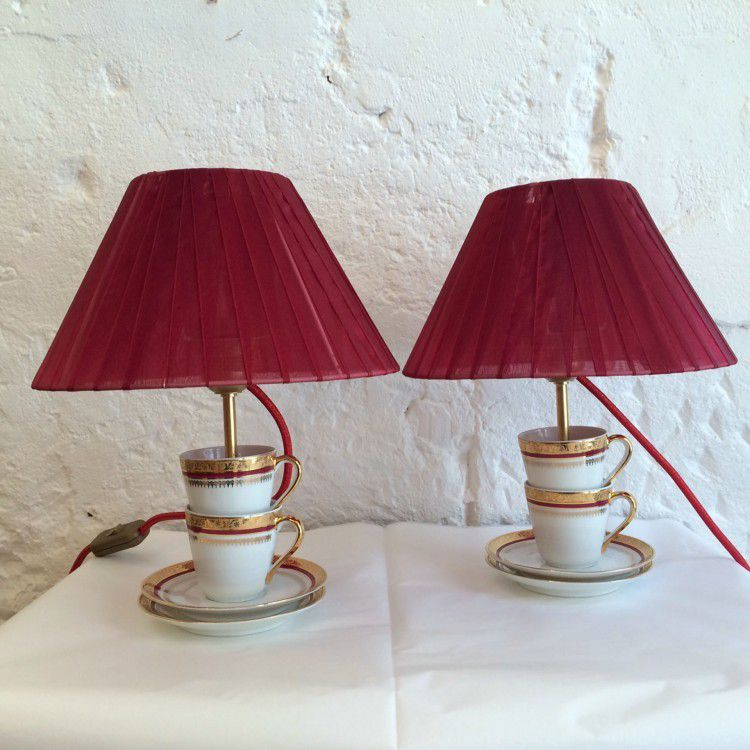petite lampe tea cup shabby chic en porcelaine ancienne. Black Bedroom Furniture Sets. Home Design Ideas
