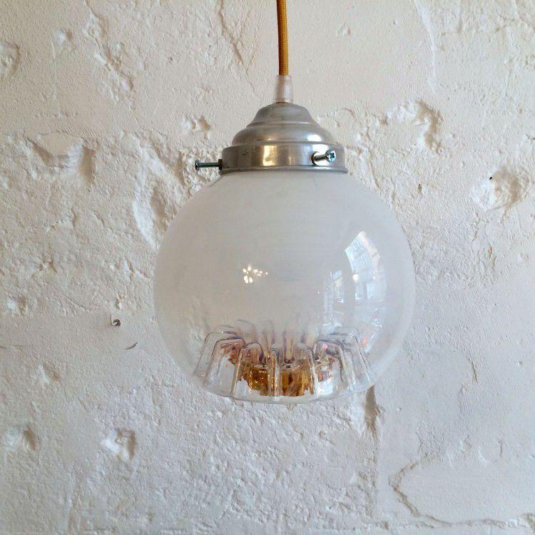 Lampe suspension luminaire abat jour globe en verre de for Luminaire abat jour suspension