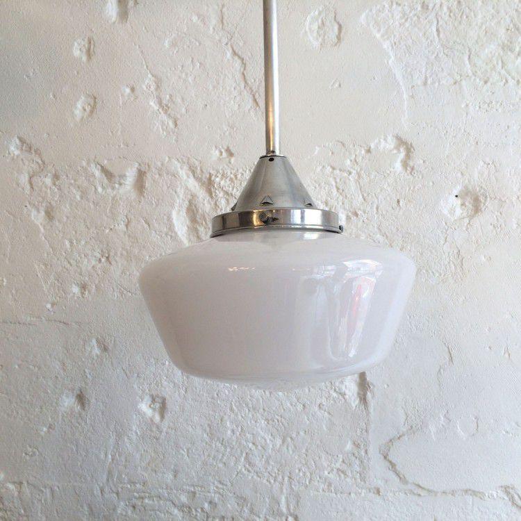 Lustre ancien luminaire abat jour globe en verre opaline blanche diam tre 30 cm vendu ibidum - Douille pour lustre ancien ...