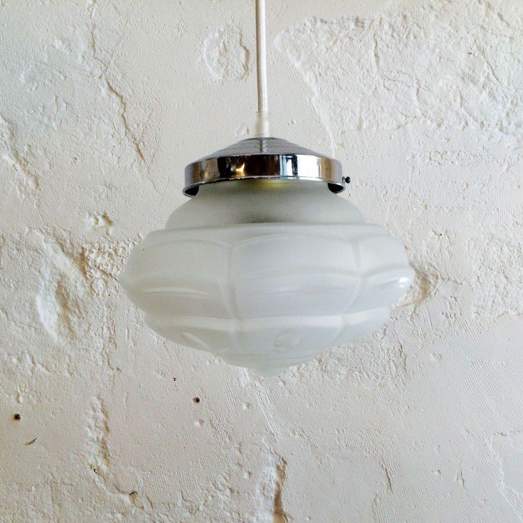 Lustre suspension ancien luminaire abat jour en verre granité vintage