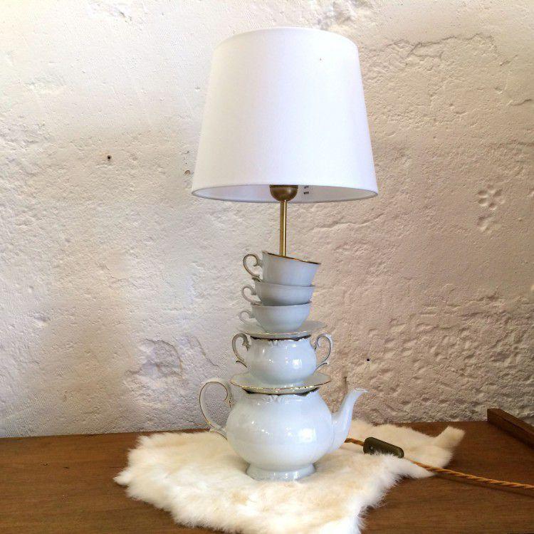 lampe de table en porcelaine ancienne tasses sucriers. Black Bedroom Furniture Sets. Home Design Ideas