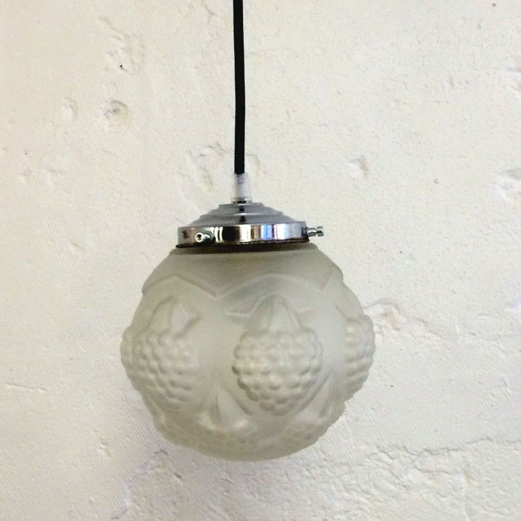 Ancien lustre suspension luminaire vintage abat jour globe for Suspension boule verre