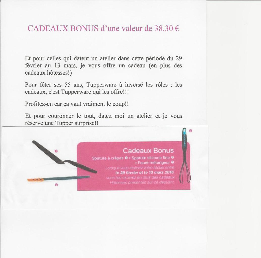 CADEAUX BONUS d'une valeur de 38.30 € n'oubliez de dater entre le 29 février et le 13 mars.