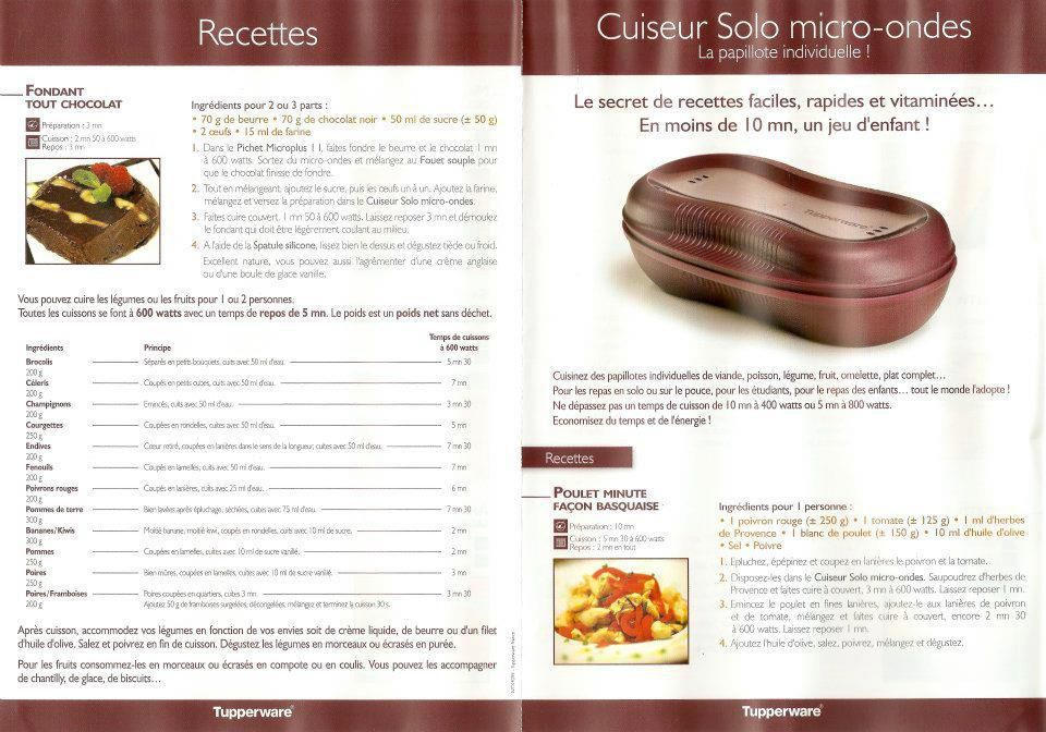 Gateau chocolat tupperware cuiseur solo