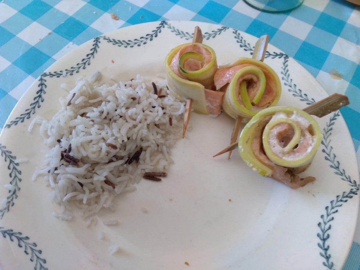 Filet de saumon et ses courgettes au microvap