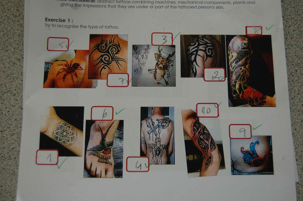 ACE6 Body and codes, Tatoos