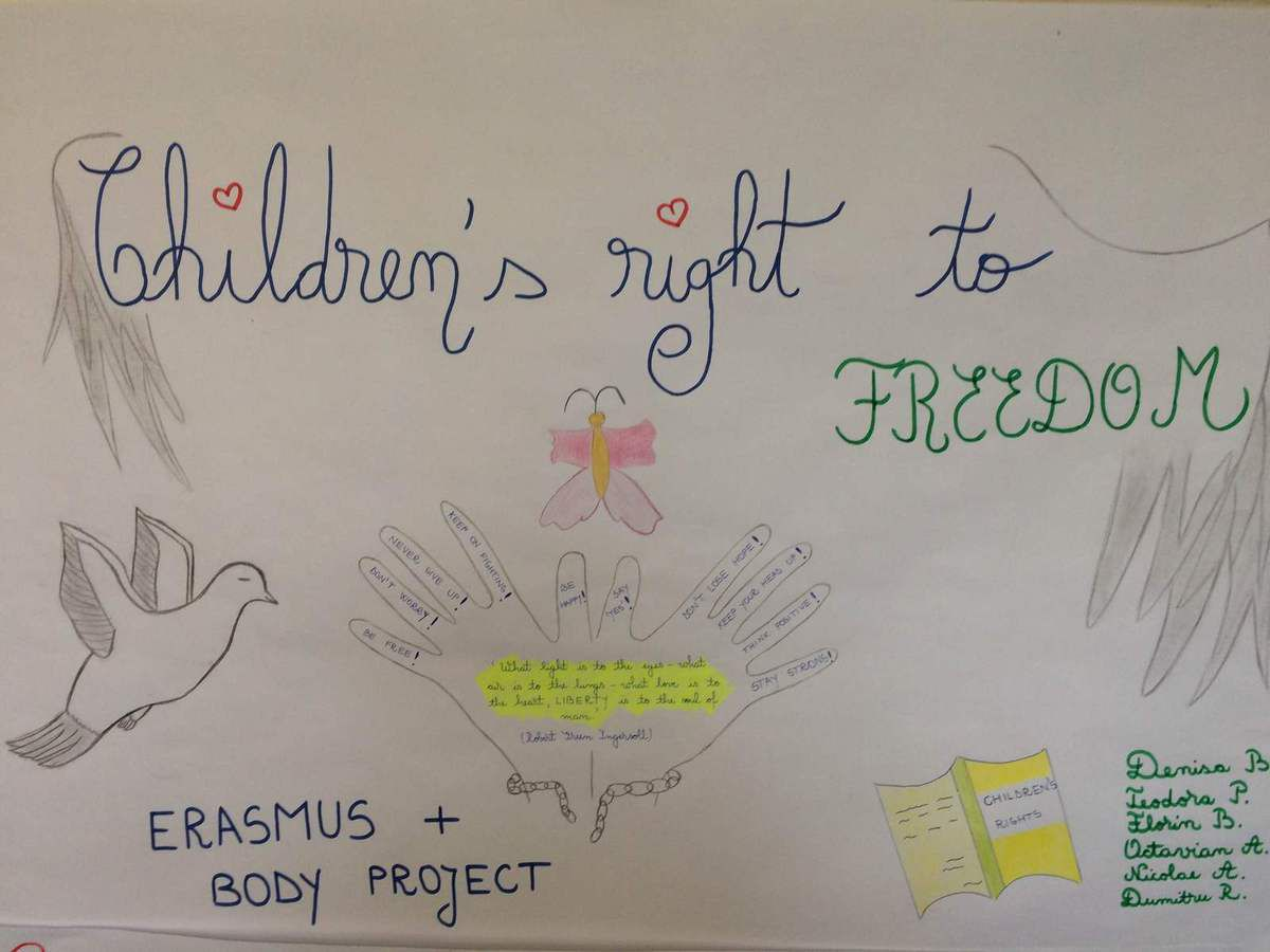 Students created several posters in which they expressed their point of view on children's human rights. The aim of the activity is to promote the active participation of all the members of the school community in integrating human rights values and principles into all areas of school life. The students of our school have now the opportunity to learn about human right and put them into practice.