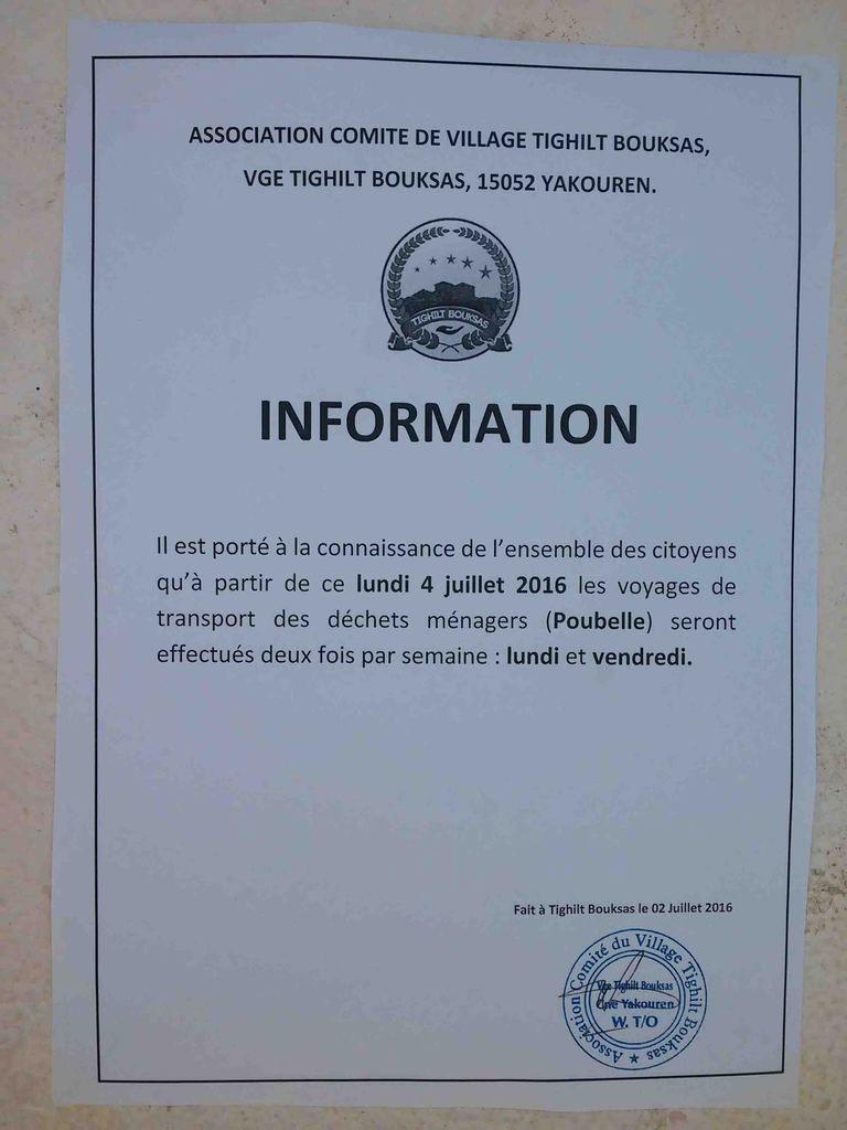 Collecte de déchets au niveau de Tighilt-Bouksas