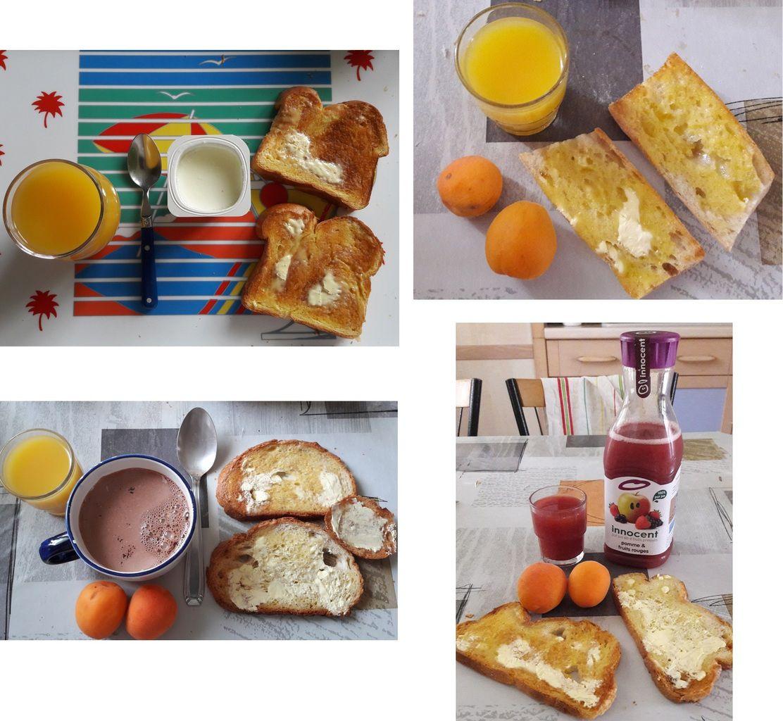 des petits-déjeuné plus ou moins légers en fonction de ma journée