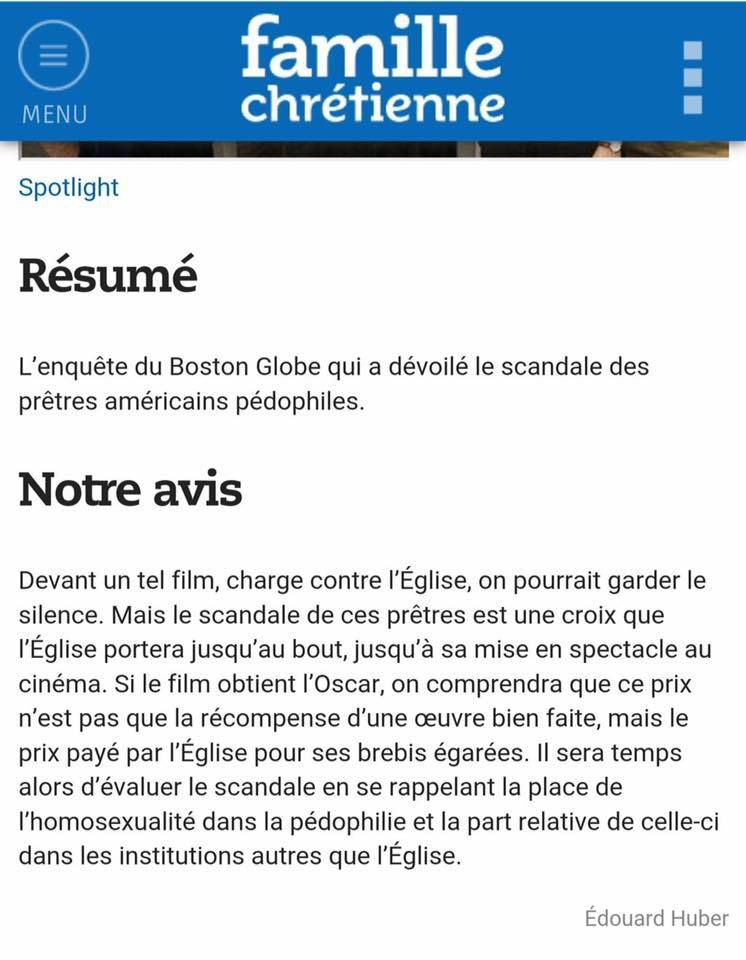 La version originale de l'article de Famille chrétienne avant que la rédaction ne le change
