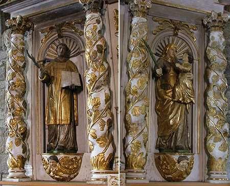vues du château et exemple de colonnettes torses baroques