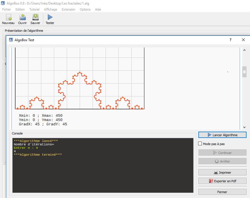 Représentation de la courbe de Koch (itération 4). Algorithme réalisé grâce à Algobox.