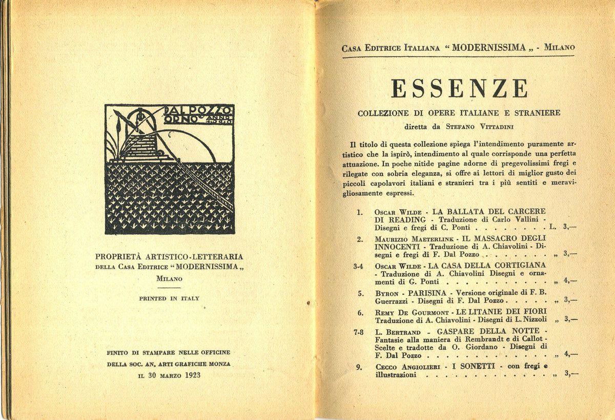 Maurizio Maeterlinck, &quot&#x3B;Il massacro degli innocenti&quot&#x3B;, Milano, Modernissima, coll. Essenze n°2, 1923