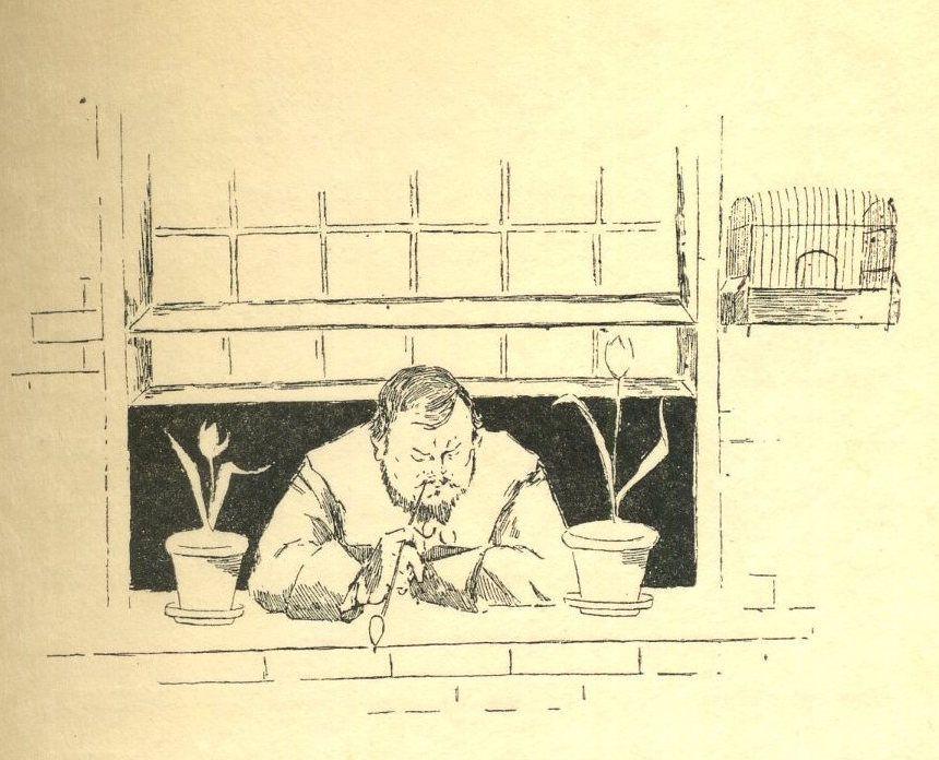 Le personnage Pieter de Delft, représenté sous les traits d'Eugène Demolder, fumant la pipe