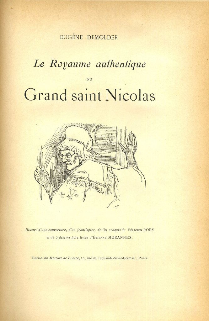 "Page de titre du ""Royaume authentique du grand saint Nicolas"" d'Eugène Demolder"