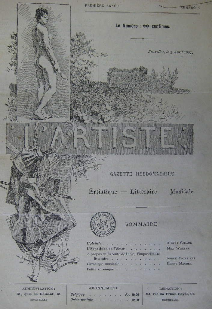 "Illustration de couverture du journal ""L'Artiste"" (Bruxelles, avril 1887) par Amédée Lynen"