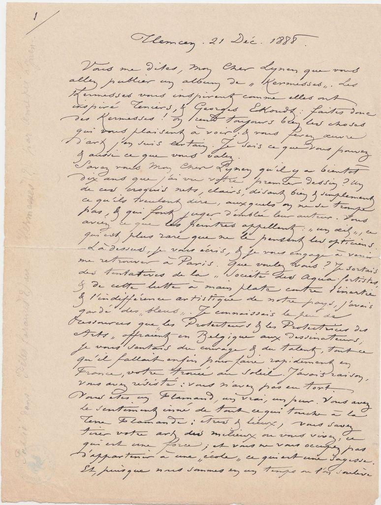 1er feuillet de la lettre originale de Félicien Rops à Amédée Lynen conservée aux Archives et Musée de la Littérature, à Bruxelles