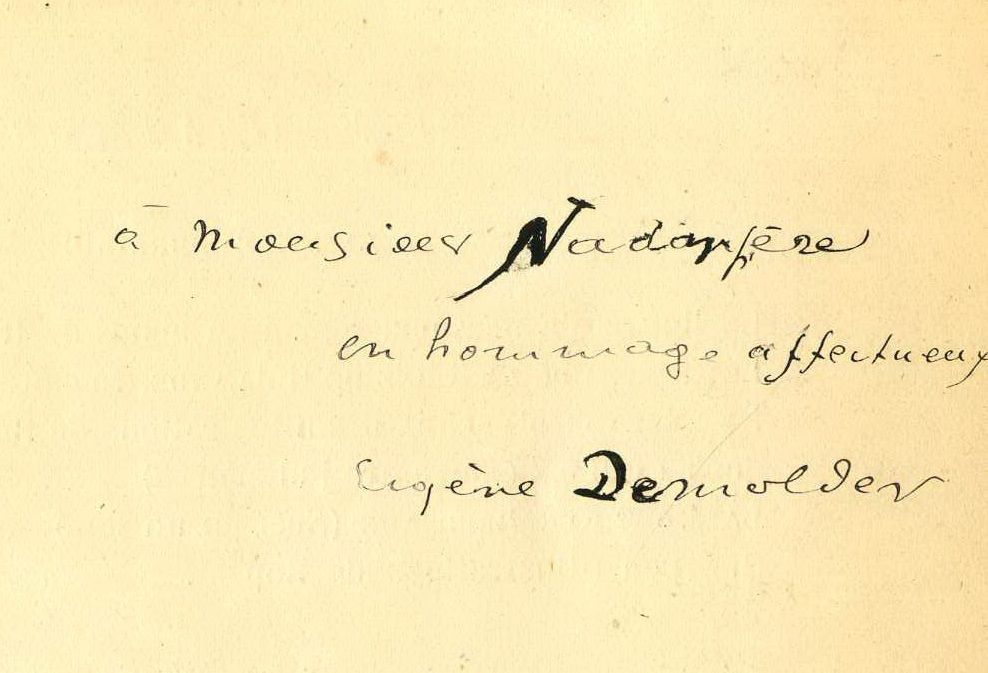 "Eugène Demolder, ""L'Agonie d'Albion"", Paris, Mercure de France, 1901. Envoi manuscrit de l'auteur à Nadar (collection privée)"