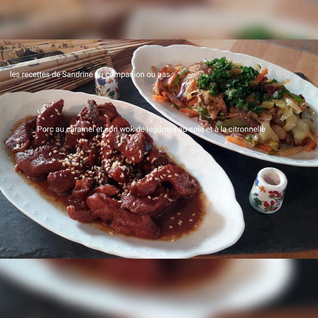 Porc au caramel et son wok de légumes croquants au soja et citronnelle au companion, thermomix, i cook'in