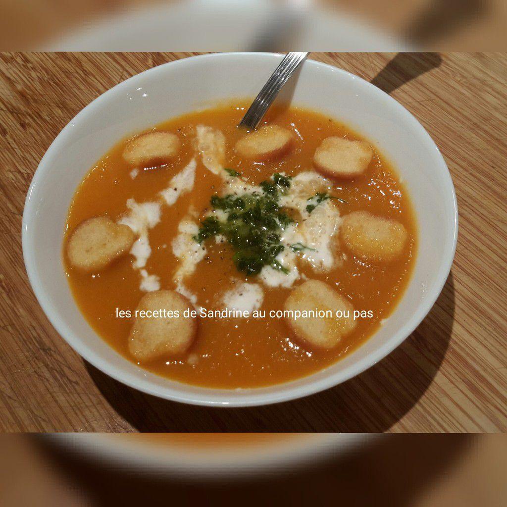 Velouté de carottes au cumin et lait de coco au companion, thermomix ou i cook'in