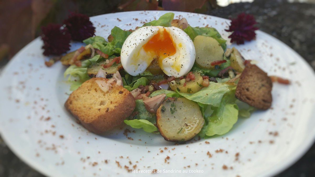 Salade campagnarde et son oeuf mollet au cookeo