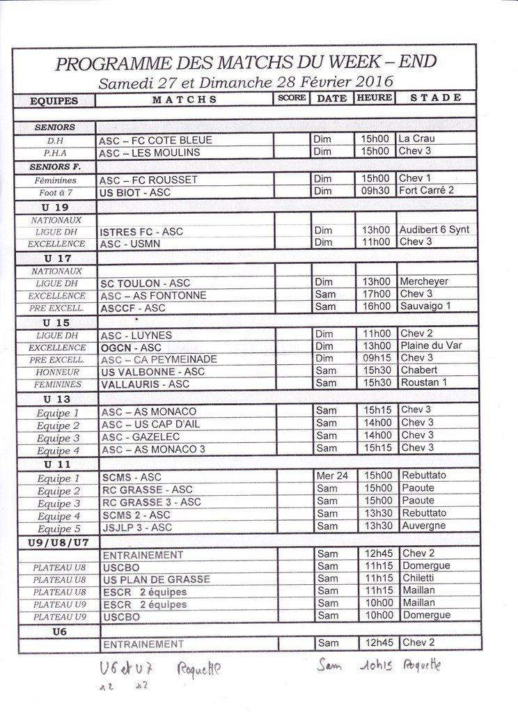 Programme des matchs du 27 et 28 Février 2016