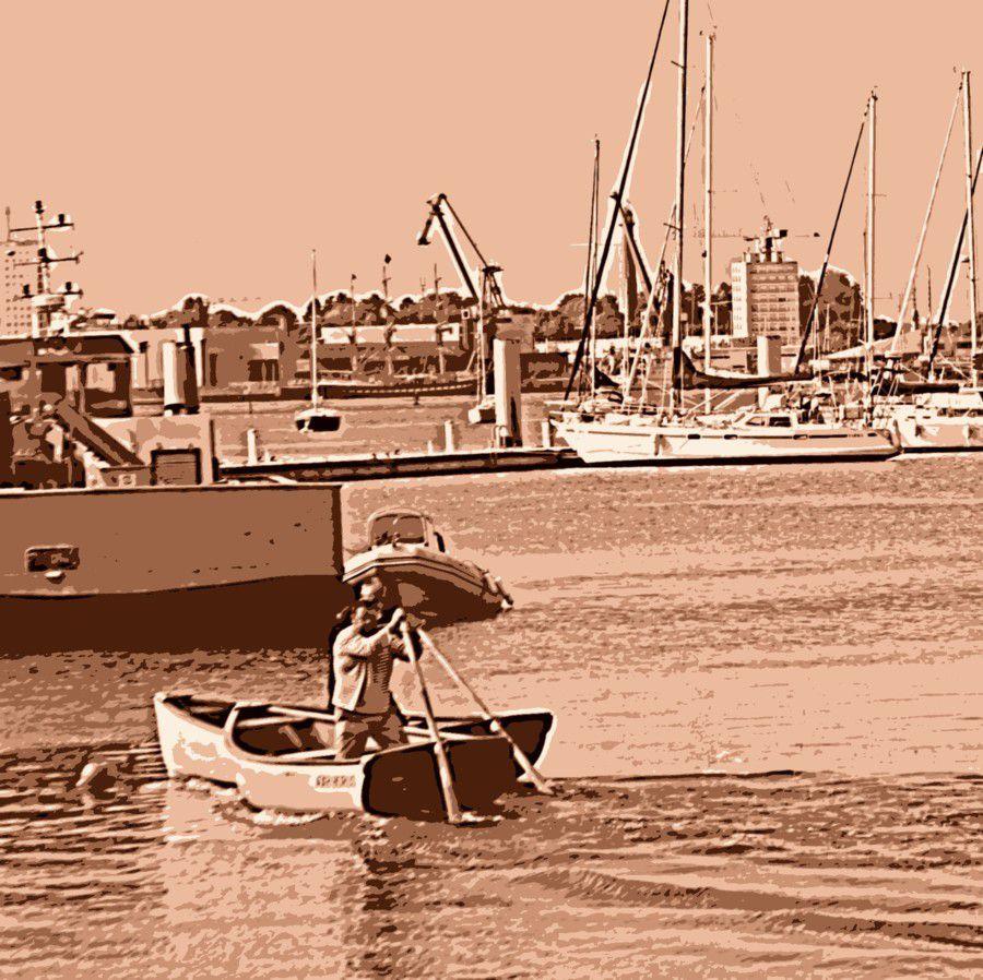 Les canots contournent la bouée.