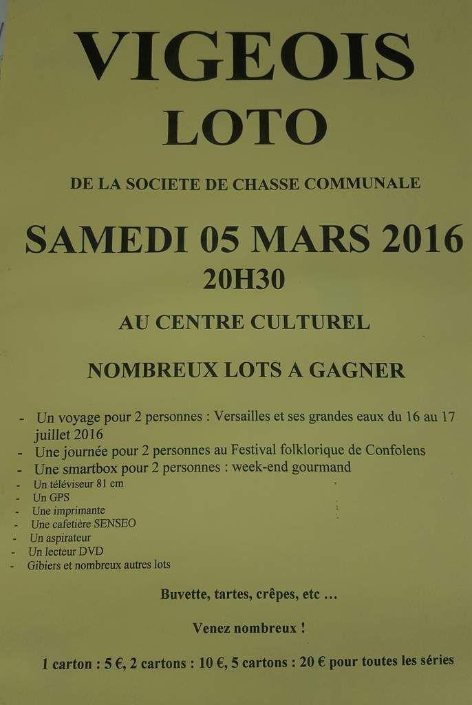 Samedi 5 Mars: Loto organisé par la Société de Chasse Communale