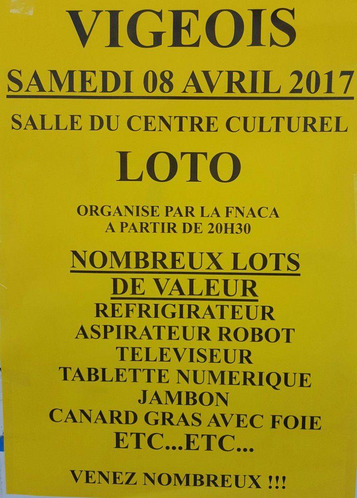 Samedi 8 Avril à 20h30: Loto organisé par la FNACA.
