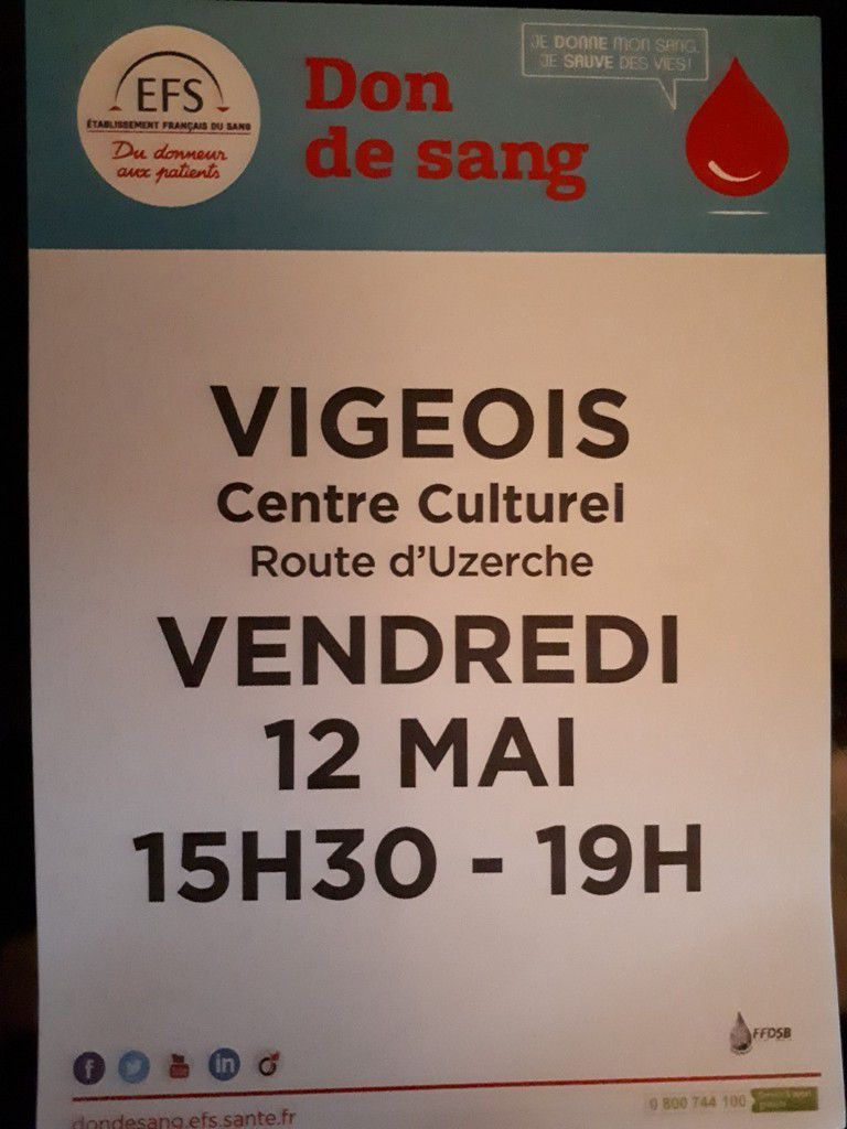 Vendredi 12 Mai: Don du Sang