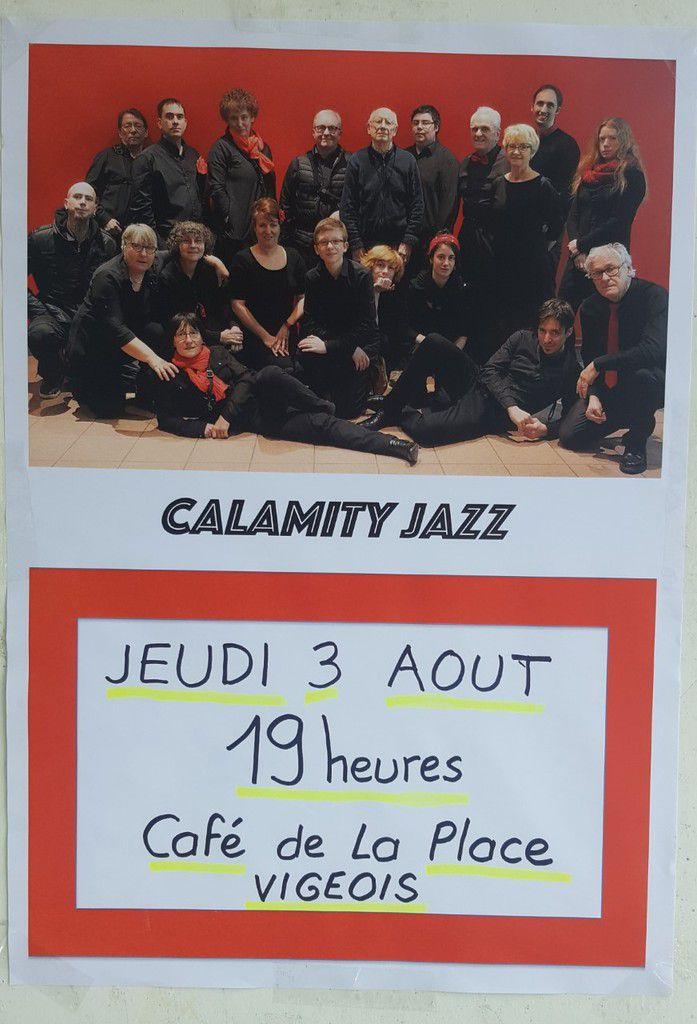 Rendez-vous ce jeudi 3 Août au Café de la Place pour un concert avec Calamity Jazz.