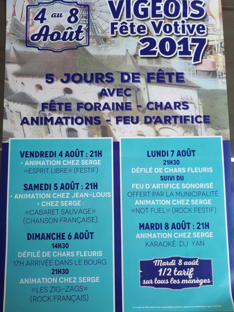 Dimanche 6 Août: Programme de la 3ème journée de Fête à Vigeois.
