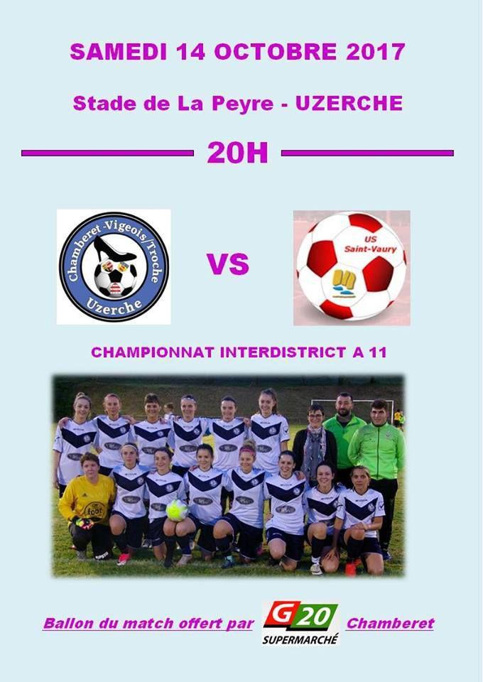 Samedi 14 Octobre: L'équipe féminine Chamberet-Vigeois/Troche rencontre l'US saint Vaury.