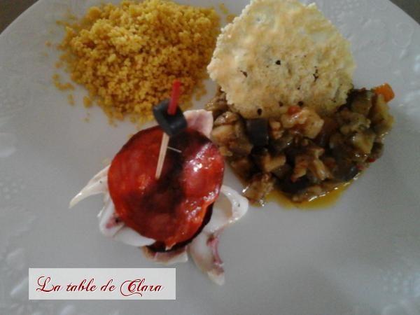 Filet de rouget en mille-feuille de chorizo